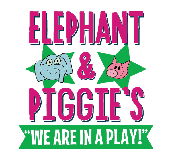 elephant and piggies we are in a play logo