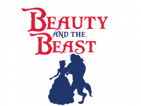 Beauty and the Beast logo with Belle and the Beast dancing