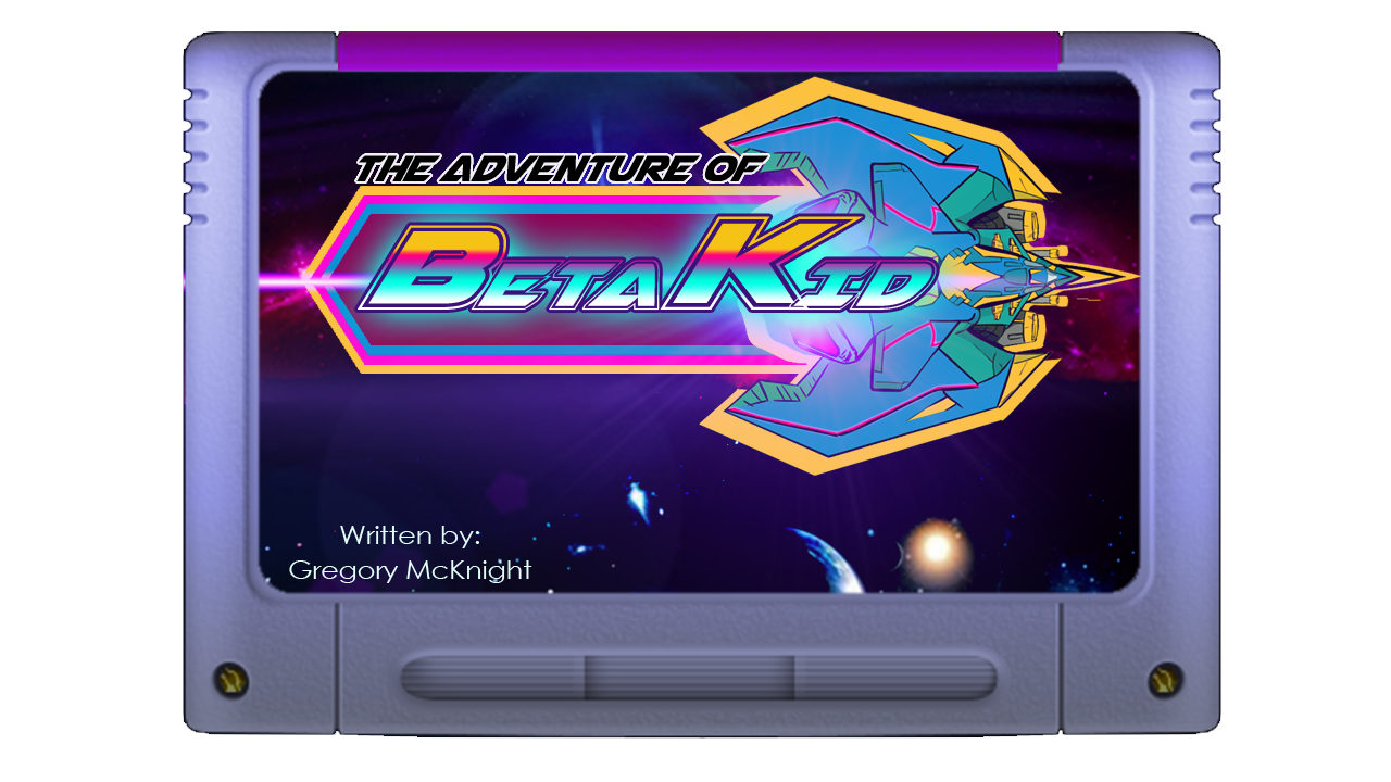 Gregory McKnight's The Adventure of BetaKid game cartridge logo