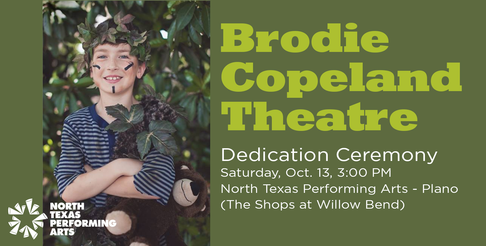 The announcing of the Brodie Copeland Theatre dedication ceremony on Saturday, October 13, 2018 at North Texas Performing Arts - Plano graphic