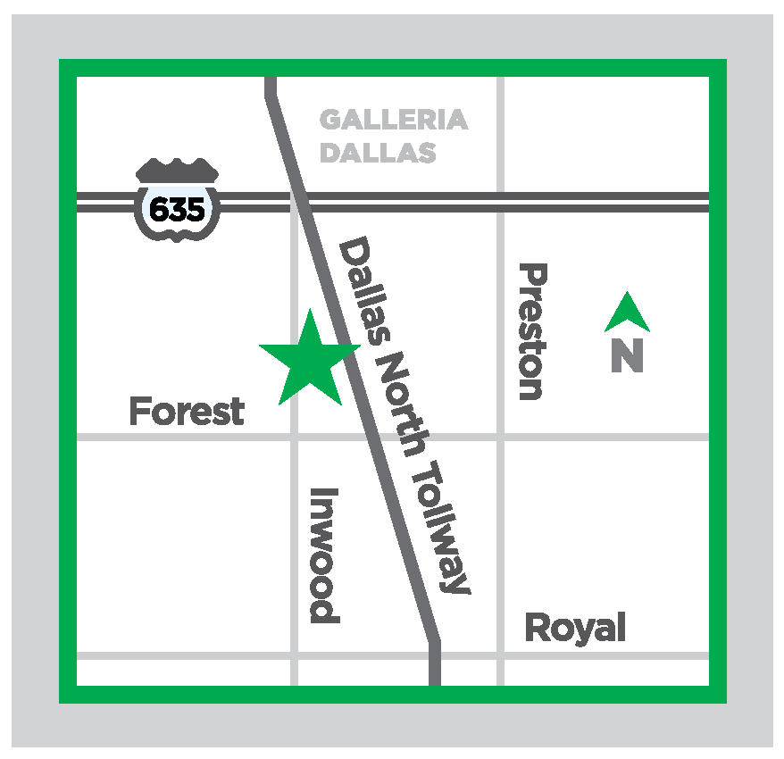 Map of proposed NTPA Dallas new location - 12300 Inwood Road, #112 Dallas, TX 75244