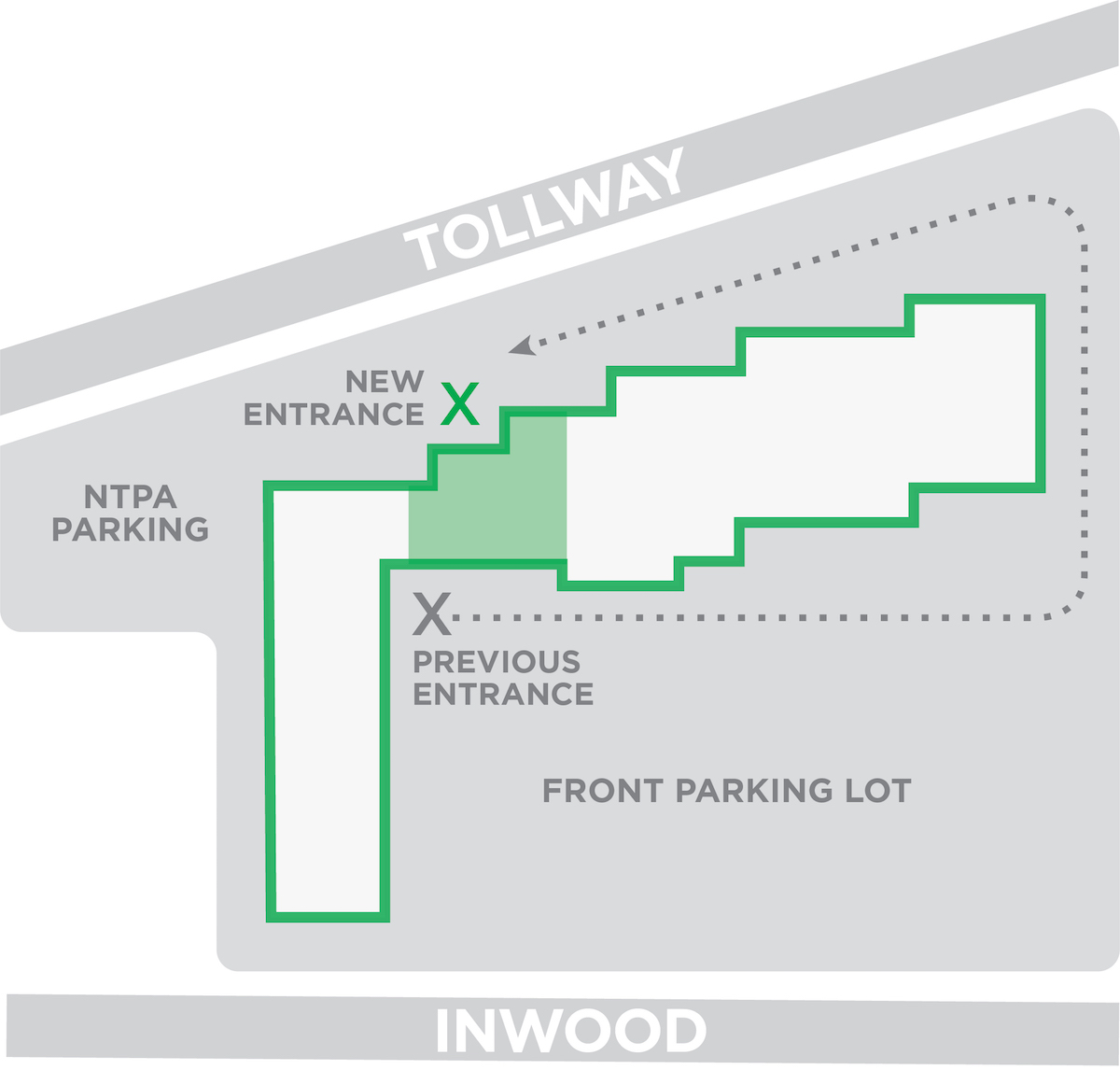 NTPA Dallas new entrance location next to Tollway