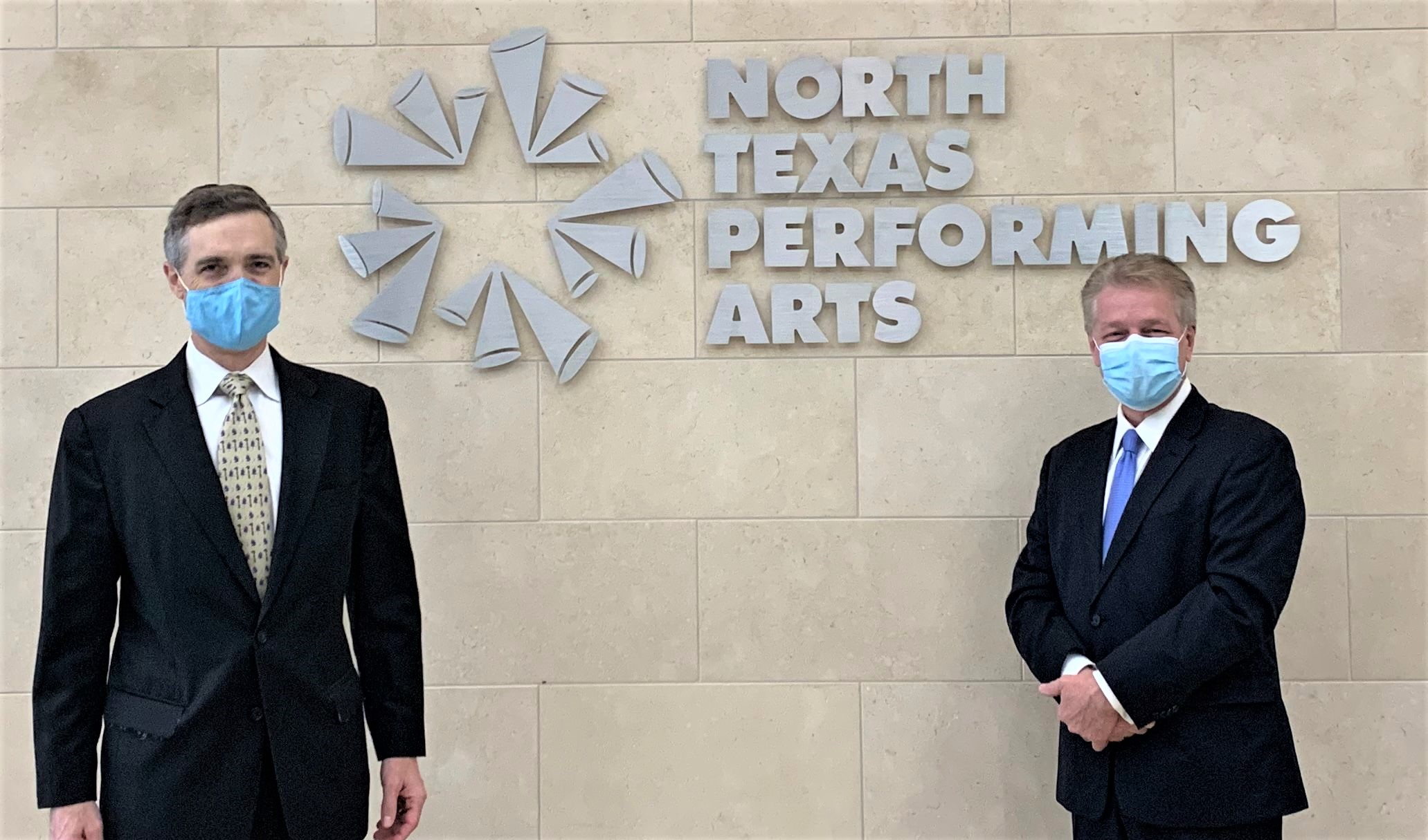 Van Taylor and Darrell Rodenbaugh photo-op in front of North Texas Performing Arts