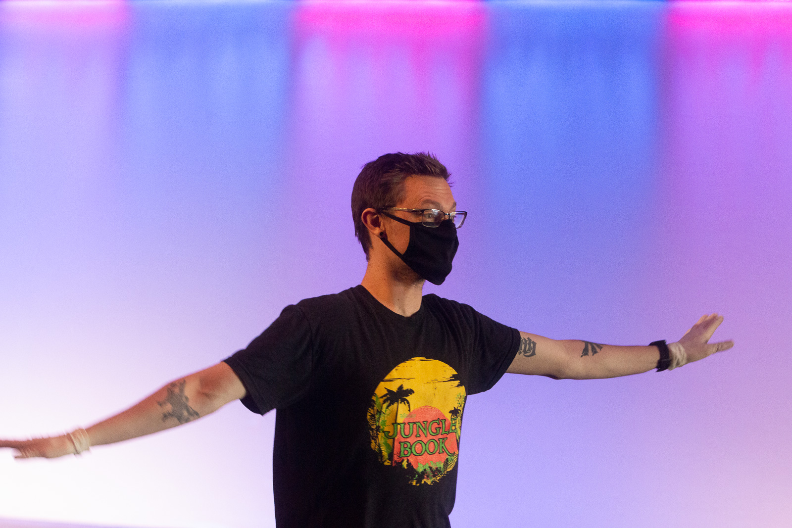 NTPA director Denver Danyla teaches acting class with masks and safe social distance