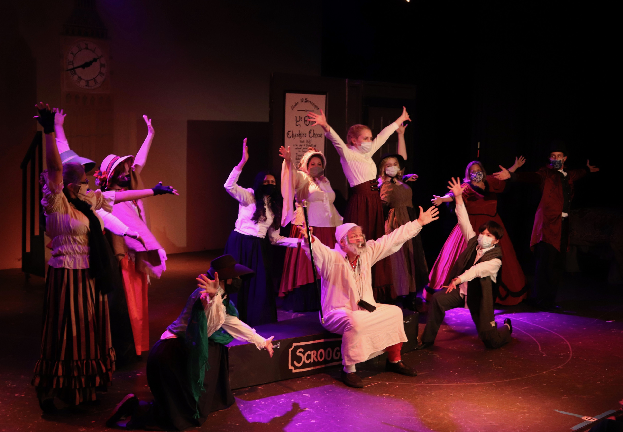 Actors dance in the 2020 performance of NTPA's Scrooge the Musical