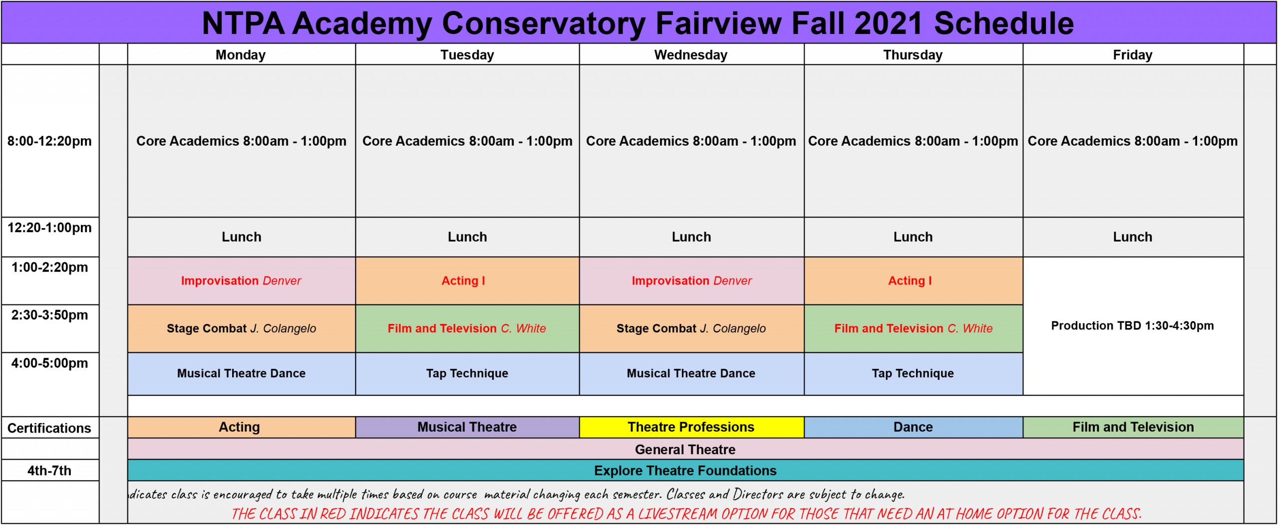 NTPA Academy Fall Fairview 2021 Schedule