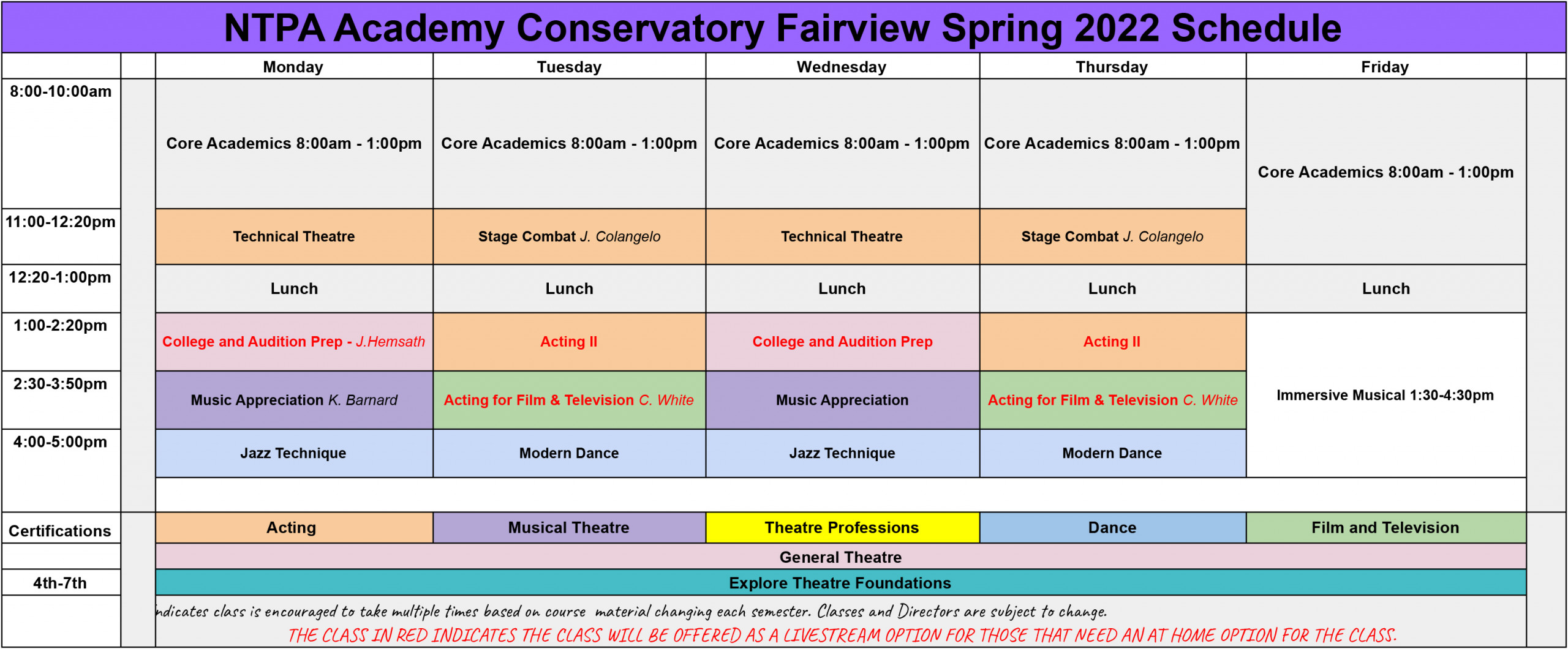 NTPA Academy fairview Spring 2022 Schedule