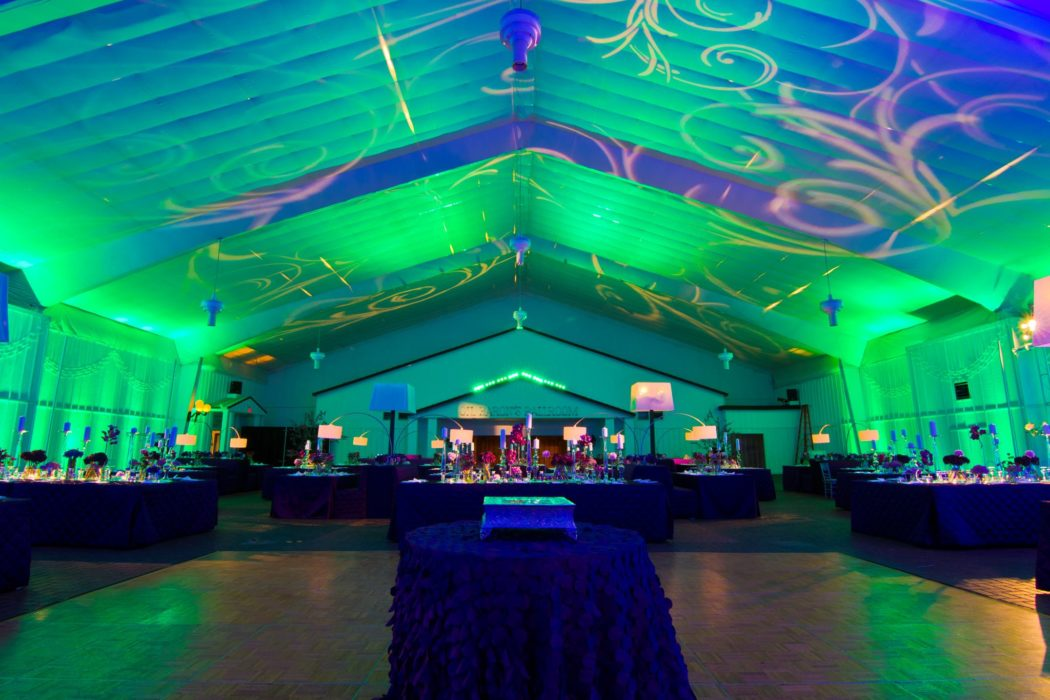 Ballroom with blue and green lighting at Southfork ranch