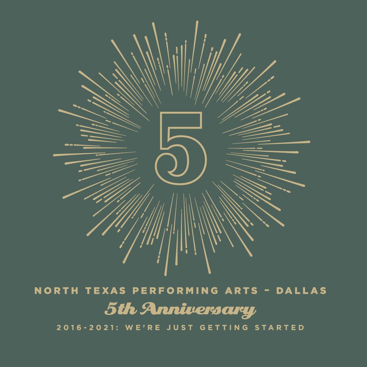 Dallas 5th Anniversary t-shirt detail front